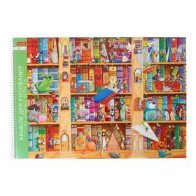 """Альбом для рисования А3, 40 листов на гребне с раскраской """"Приключения"""", обложка мелованный картон, блок 100 г/м2"""