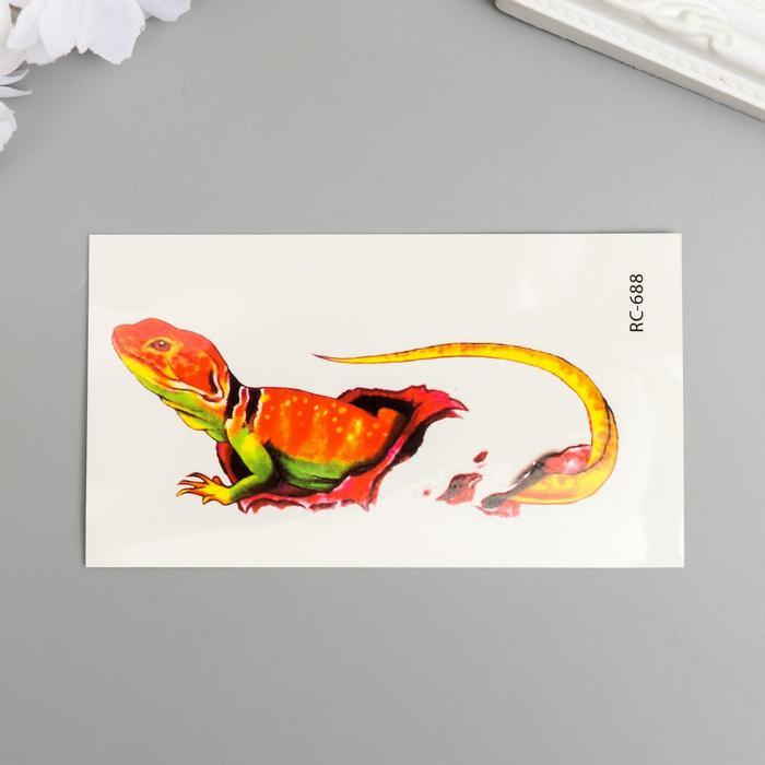 """Татуировка на тело цветная """"Ящерица в ране"""" 10,5х6 см"""