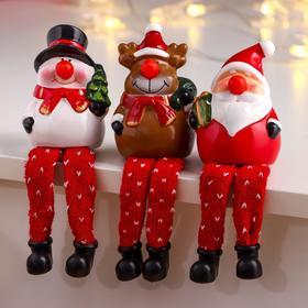 """Сувенир керамика свет """"Новогодний персонаж - красный нос, длинные ножки"""" МИКС 9,5х6,3х6,8 см   68477"""