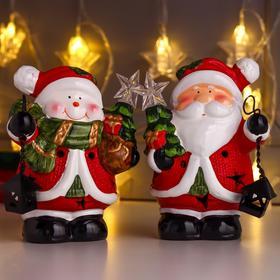 "Сувенир керамика свет ""Дед Мороз/Снеговик с фонариком и ёлочкой"" МИКС 16х9х12,8 см"