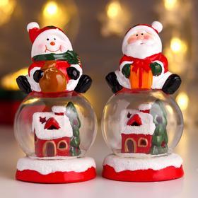 """Сувенир керамика свет """"Дед Мороз/Снеговик на шаре - Домик в шаре"""" МИКС 14х8х8 см"""