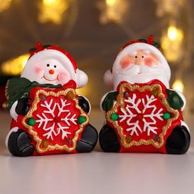 """Сувенир керамика свет """"Дед Мороз/Снеговик со снежинкой"""" МИКС 12х7,5х9,5 см"""
