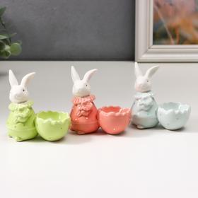 """Сувенир керамика подставка """"Белый кролик с цветком, наряд в горох"""" МИКС 8,5х4,6х9 см"""