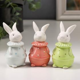 """Сувенир керамика """"Белый кролик в наряде в горошек"""" МИКС 8,5х4,6х4,6 см"""
