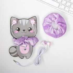 Наушники и резинка для волос на открытке «Котик», 10,3 х 14,5 см