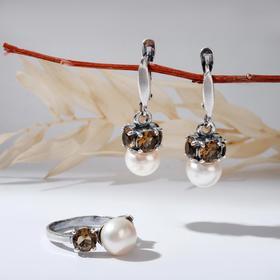 """Гарнитур посеребрение 2 предмета: серьги, кольцо, ночь """"Жемчуг"""" с ювелирным стеклом 17 р-р"""