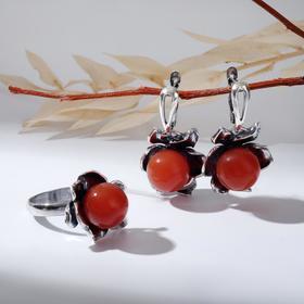 """Гарнитур посеребрение 2 предмета: серьги, кольцо, цветочек """"Сердолик"""", 19 размер"""