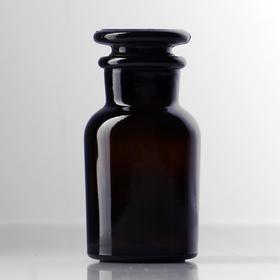 Склянки для реактивов из темного стекла с широкой горловиной и притертой пробкой 60 мл