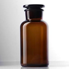 Склянки для реактивов из темного стекла с широкой горловиной и притертой пробкой 500 мл