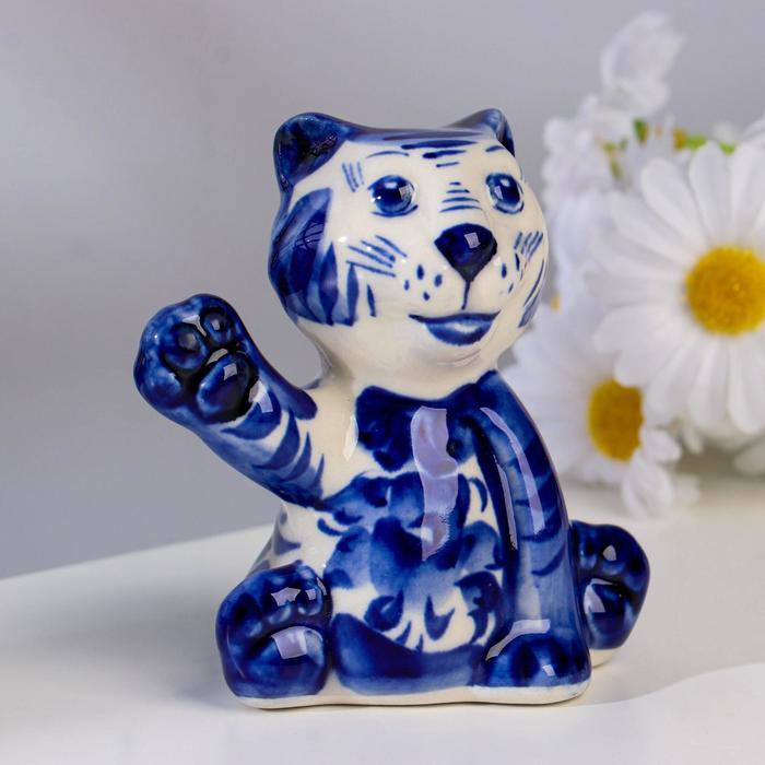 "Сувенир ""Тигр Тюбик"", 9 см, гжель - фото 9215828"