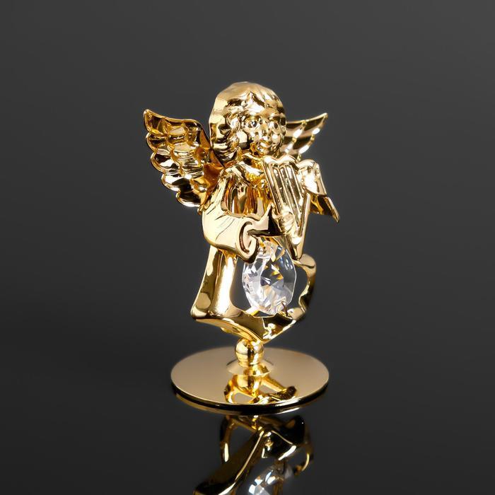 "Сувенир ""Ангел с арфой"" с 1 кристаллом Сваровски,на подставке 5,5х3,5х6см - фото 9215887"