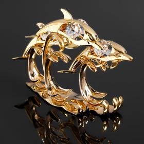"""Сувенир """"Три дельфина на волне"""" с 6 кристаллами Сваровски, 12х4х9,5 см"""