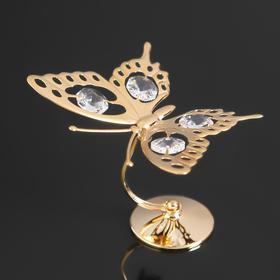 """Сувенир """" Бабочка большая"""" на подставке с 4-мя кристаллами Сваровски, 8,5х5,5х9см"""