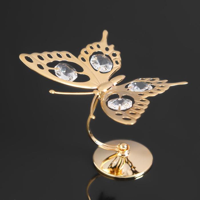"""Сувенир """" Бабочка большая"""" на подставке с 4-мя кристаллами Сваровски, 8,5х5,5х9см - фото 9215899"""