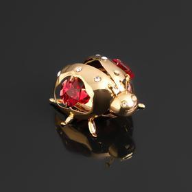 """Сувенир """"Божья коровка"""" с 3-я разноцветными кристаллами Сваровски, 4,5х5х3см"""