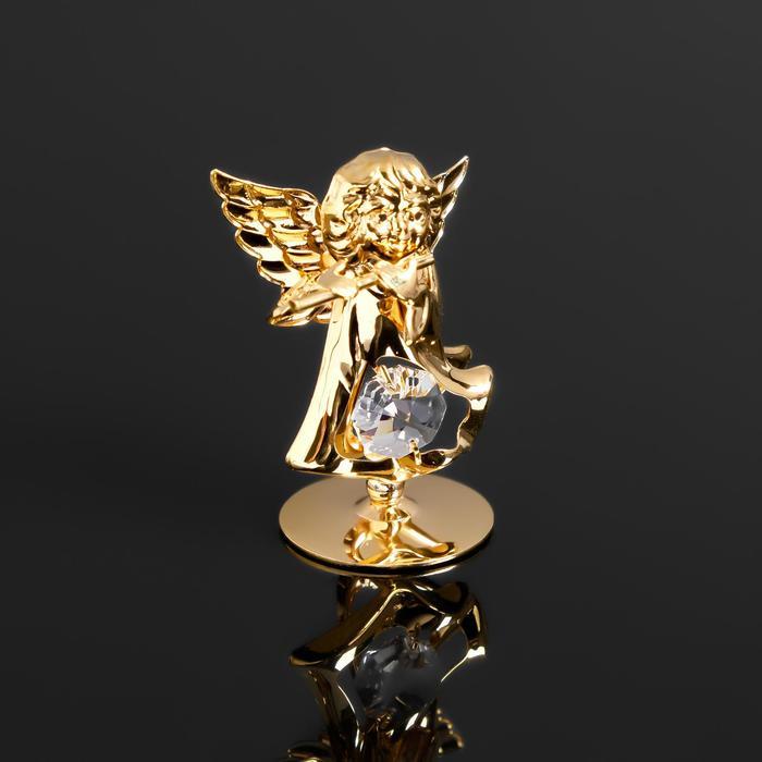 """Сувенир """"Ангел с флейтой"""" с 1 кристаллом Сваровски,на подставке,  5,5х3,5х6см - фото 9215905"""