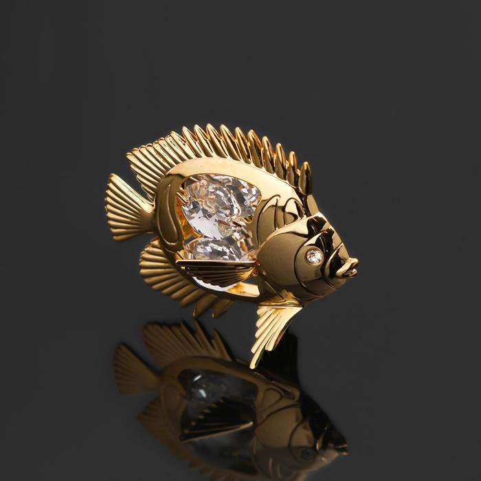 """Сувенир """"Рыбка"""" с 4 кристаллами Сваровски, 6х4х5,5 см - фото 9215911"""