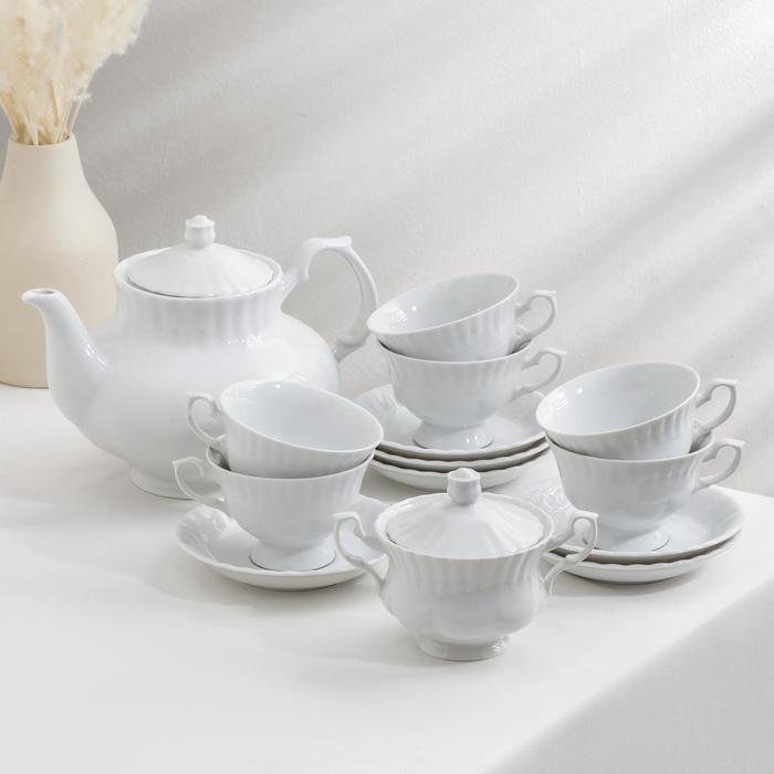 Чайный сервиз Nedek, 6 персон, 14 предметов, чайник 1,8 л, чашки 200 мл - фото 9215931