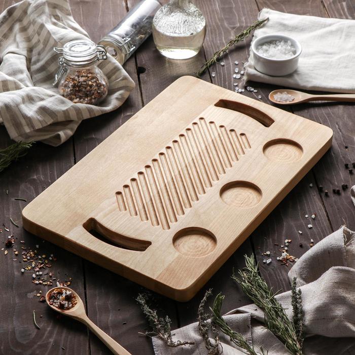 Доска для подачи шашлыка сервировочная Доляна, 35×23×1,8 см, пропитана маслом, берёза