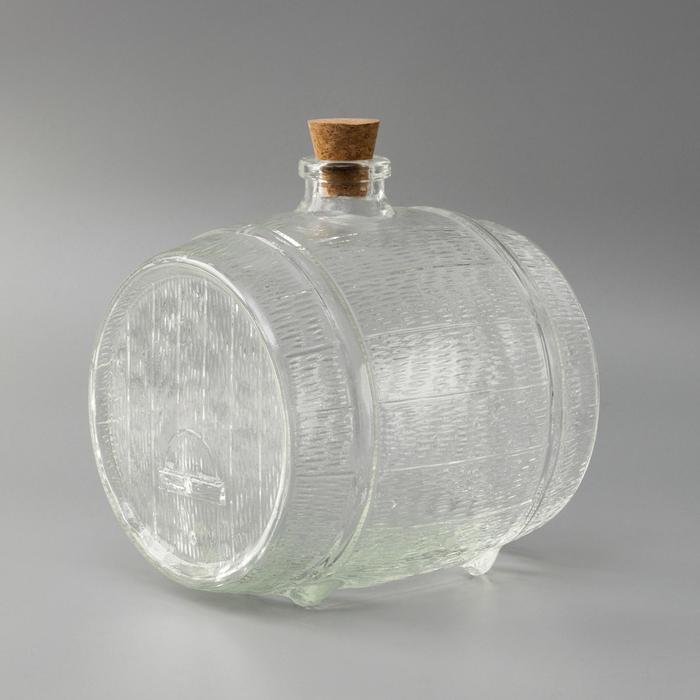 Бутыль стеклянная «Ботте», 3,8 л, с пробкой - фото 9215976