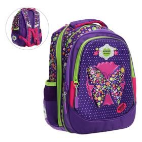 Рюкзак школьный, Across, CH220, 39 х 29 х 17 см, эргономичная спинка, сиреневый/бирюзовый