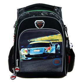 Рюкзак школьный, Across, DH1, 39 х 29 х 17 см, эргономичная спинка, чёрный/зелёный