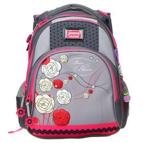 Рюкзак школьный, Across, DH2, 39 х 29 х 17 см, эргономичная спинка, серый/розовый
