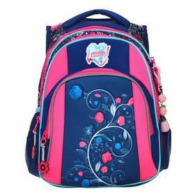 Рюкзак школьный, Across, DH4, 39 х 29 х 17 см, эргономичная спинка, синий/розовый