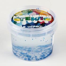 Слайм «Стекло» с синими крупными блёстками 100 г