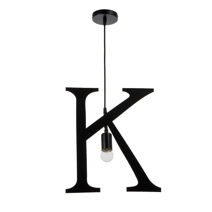 """Светильник подвесной """"K"""" 1х40Вт E27 черный - фото 9216087"""