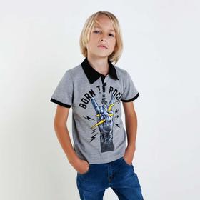 Футболка-поло для мальчика, цвет светло-серый, рост 110 см (5 лет)