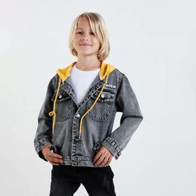 Denim jacket for a boy, gray, height 134 cm