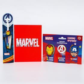 """Подарочный набор """"Супергерою!"""", Мстители (блокнот в обложке софт-тач, магнитные закладки 3 шт., ручк"""