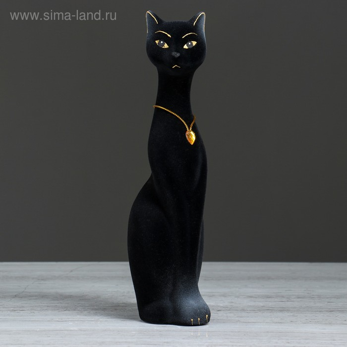 "Копилка ""Кошка Мурка"" малая, флок, чёрная"