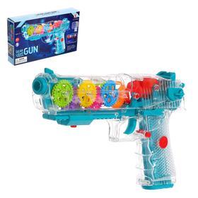 Пистолет «Шестеренки», свет, звук, работает от батареек, МИКС