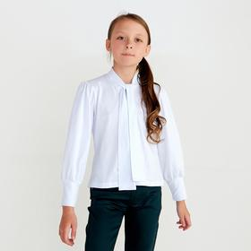 Школьная блузка для девочки, цвет белый, рост 140 см