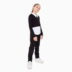 Школьная блузка для девочки, цвет чёрный/белый, рост 122 см