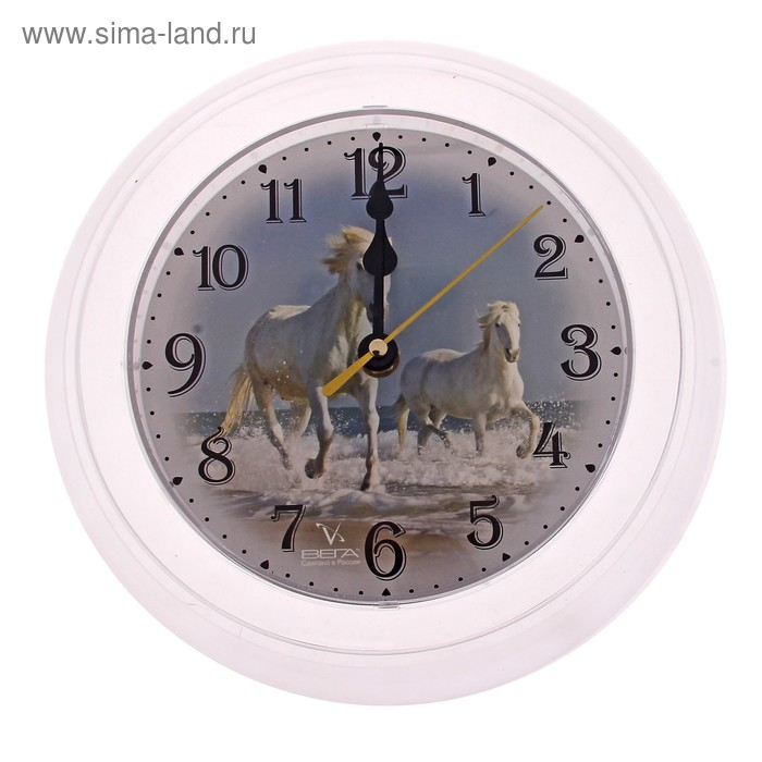 "Часы настенные круглые ""Лошади"", белые"