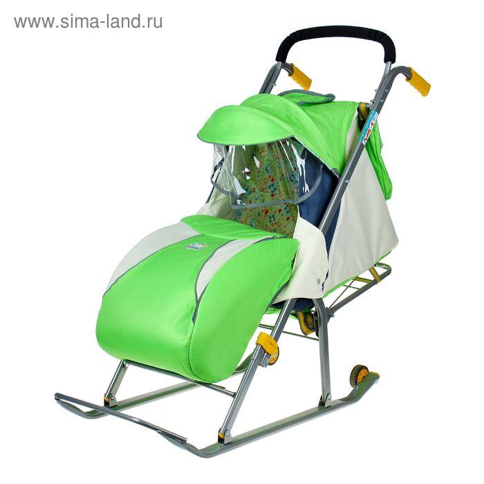 """Санки-коляска """"Ника детям 2"""" с колесами, цвет зеленый"""