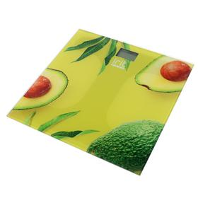 """Весы напольные Irit IR-7269. электронные, до 180 кг, стекло, 2хААА, рисунок """"авокадо"""""""