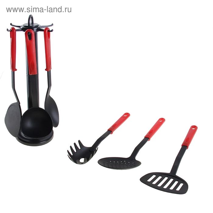 """Набор кухонных принадлежностей """"Элегант"""", 6 предметов на подставке, цвет красный"""