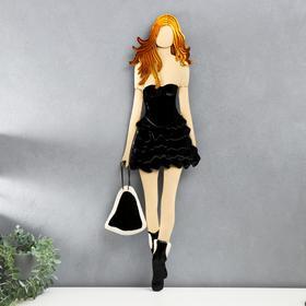 """Сувенир полистоун настенный декор """"Девушка в маленьком чёрном платье"""" 79,5х2,5х27 см"""
