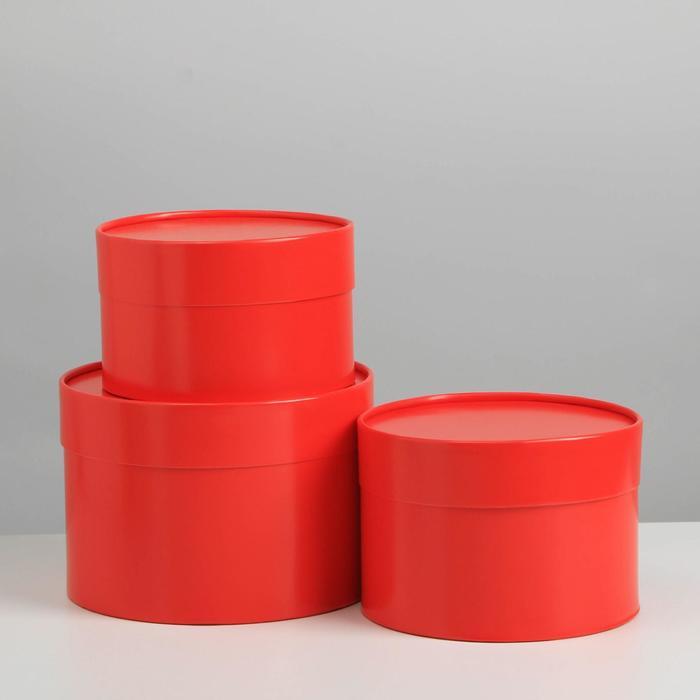 Набор шляпных коробок 3 в1 (16*10,14*9,13*8,5) красный - фото 9216827