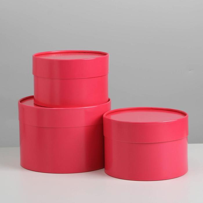 Набор шляпных коробок 3 в1 (16*10,14*9,13*8,5) малиновый - фото 9216831