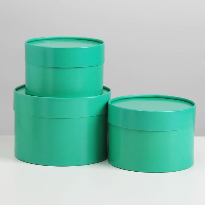 Набор шляпных коробок 3 в1 (16*10,14*9,13*8,5) морская волна - фото 9216835