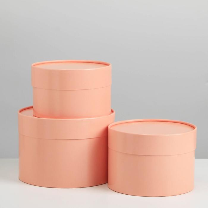 Набор шляпных коробок 3 в1 (16*10,14*9,13*8,5) пудровый - фото 9216839