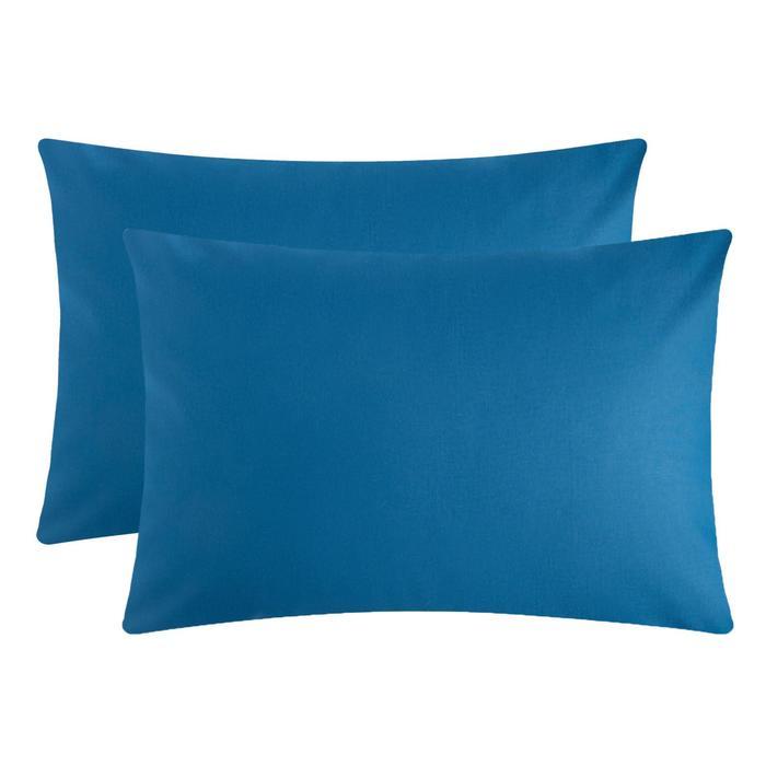 Комплект наволочек Этель 50х70 см - 2шт., синий, 100 % хлопок, поплин - фото 9217033