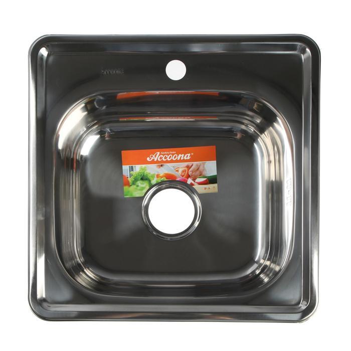 Мойка кухонная Accoona AB4848, врезная, двойная, толщина 0.6 мм, 480х480х165 мм, глянец - фото 3649536