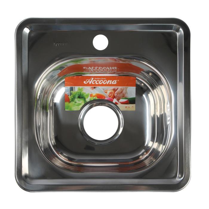 Мойка кухонная Accoona AB3838, врезная, толщина 0.6 мм, 380х380х165 мм, глянец - фото 9217139
