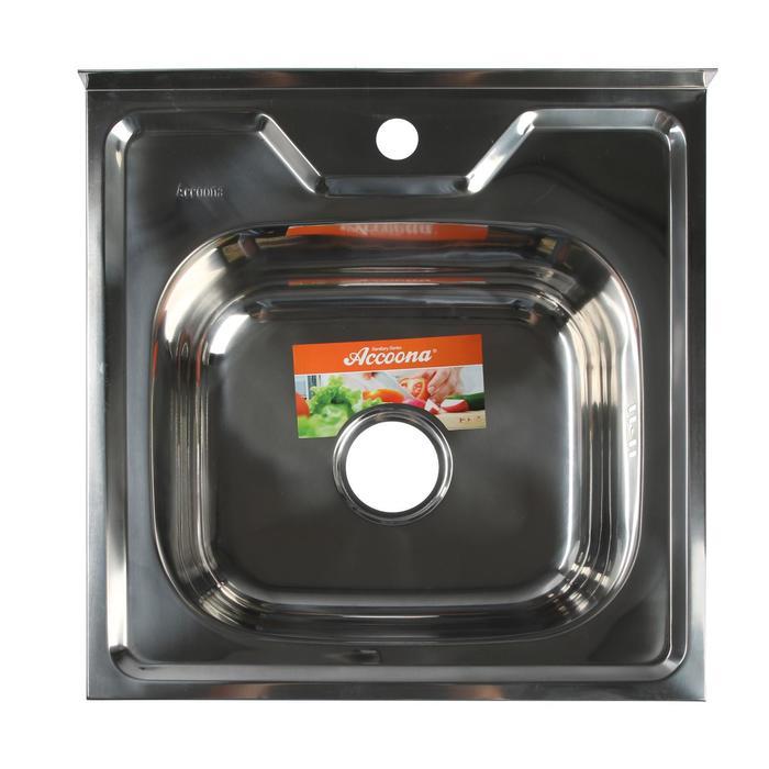 Мойка кухонная Accoona AB5050, накладная, толщина 0.6 мм, 500х500х165 мм, глянец - фото 9217145
